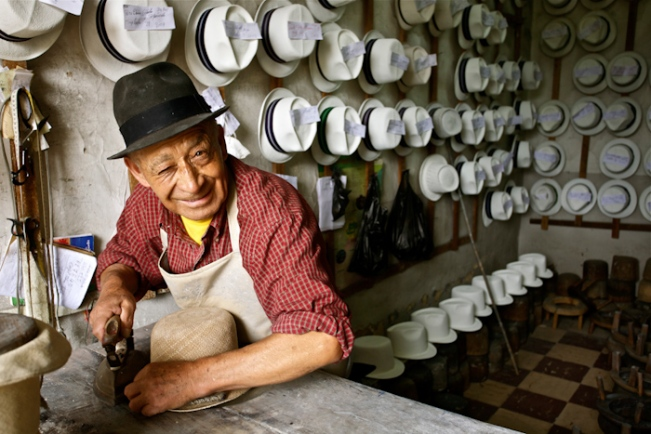 Hat maker in Ecuador