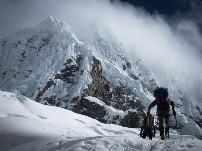 Climbing to Alpamayo Mountain in Cordillera Blanca, Peru
