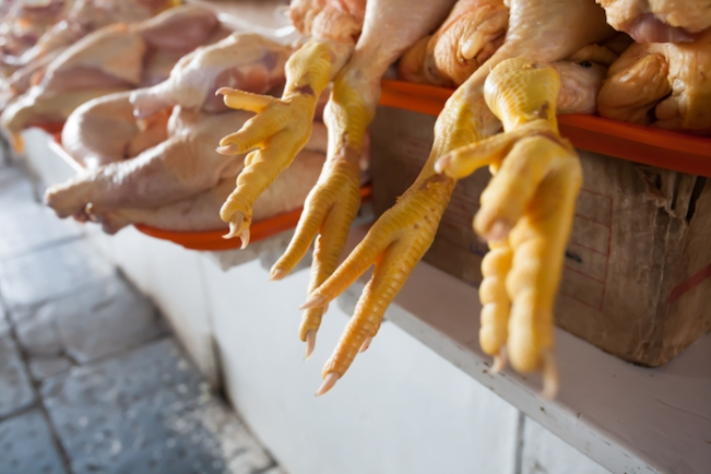 Chicken feet in local market in Cuzco, Peru