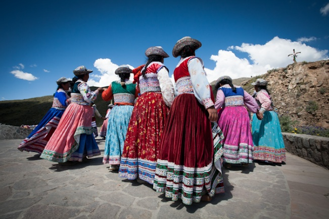Peruvian Women dancing near Colca Canyon
